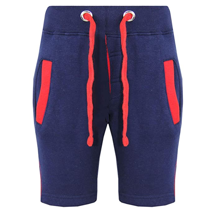 1ee1df593c2b Kids Shorts Girls Boys Fleece Chino Shorts - Contrast Trim Navy - 2-3 Years