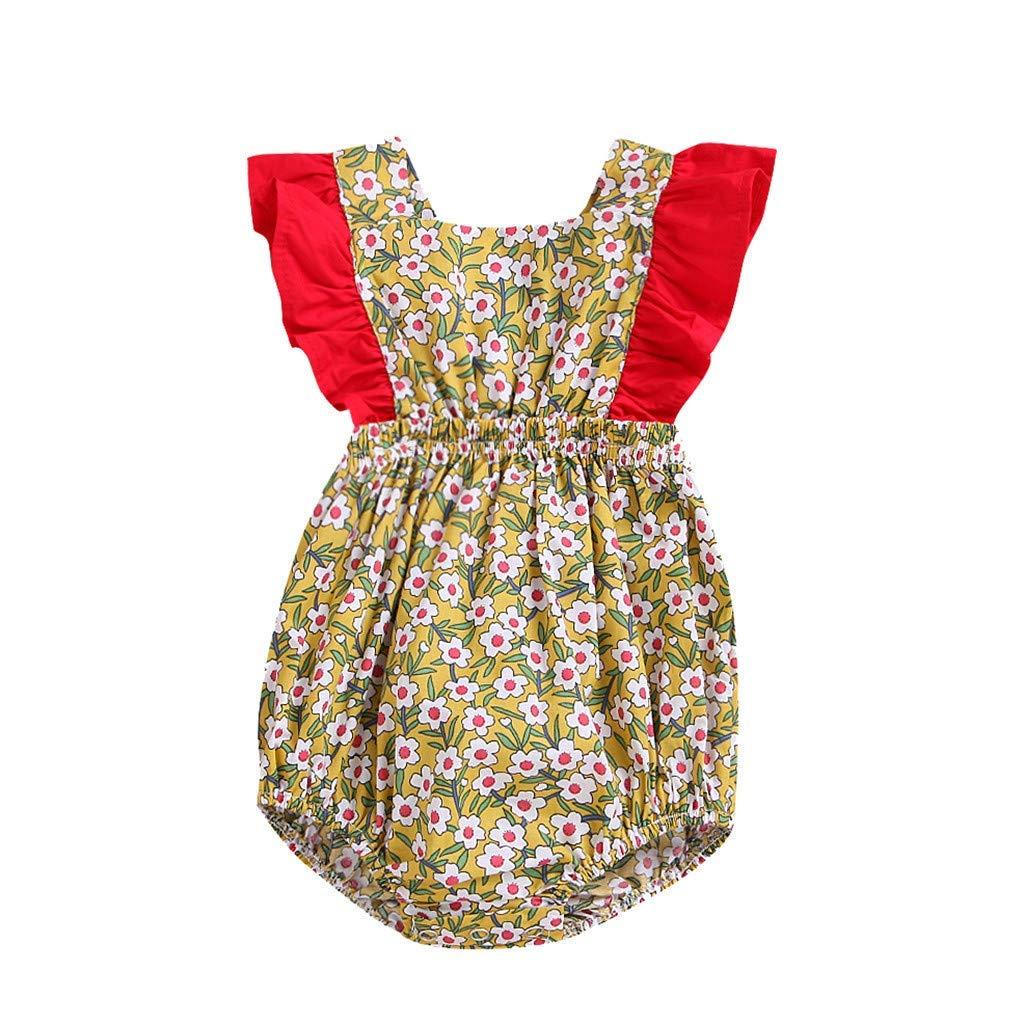 Fashion New Newborn Infant Girl Bodysuit Baby Vintage Floral Ruffles Halter Romper Sunsuit Outfit Princess Clothes Red 3-6 M