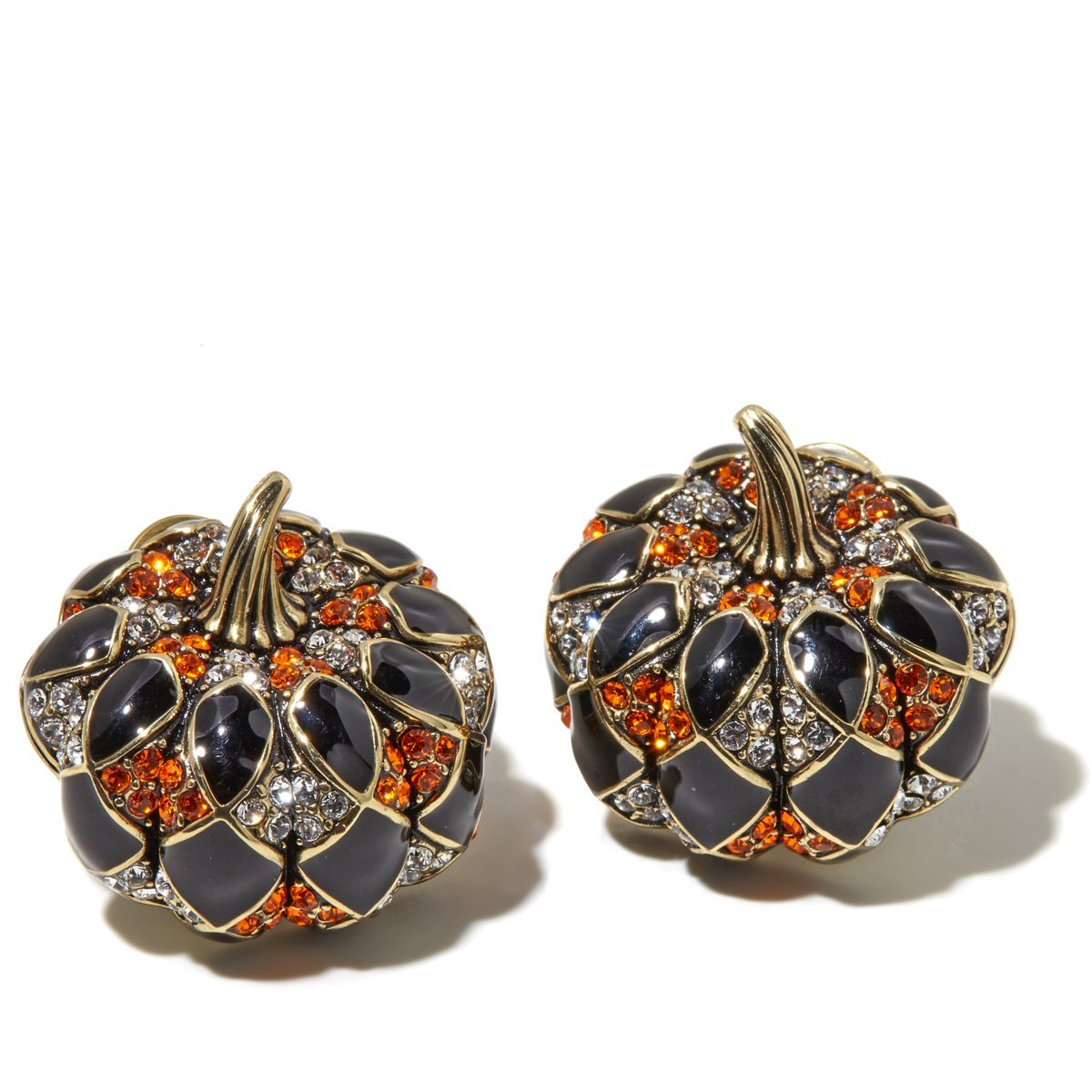 Heidi Daus Harlequin Pumpkin Earrings EXQUISITE SWAROVSKI GREAT CONVERSATION STARTER FOR THANKSGIVING!!!