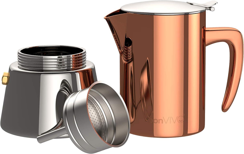 para 2 Tazas De Espresso para Espresso con Mucho Cuerpo Cafetera Moka Cl/ásica bonVIVO Intenca Cafetera Italiana Express De Inducci/ón De Acero Inoxidable con Acabado Cobre