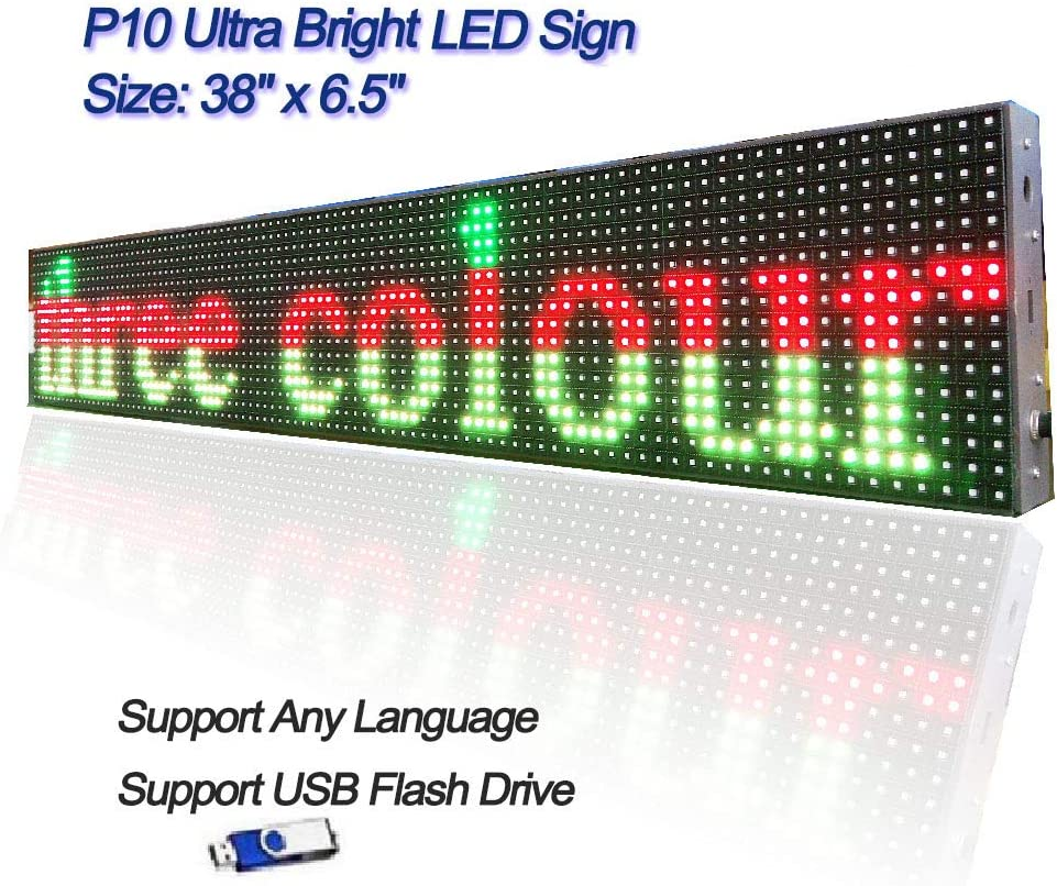 Led sign programmable board,P10 SMD RGB full color Ultra Bright scrolling message semi outdoor and indoor display Mmodule 38 x 6.5 for window
