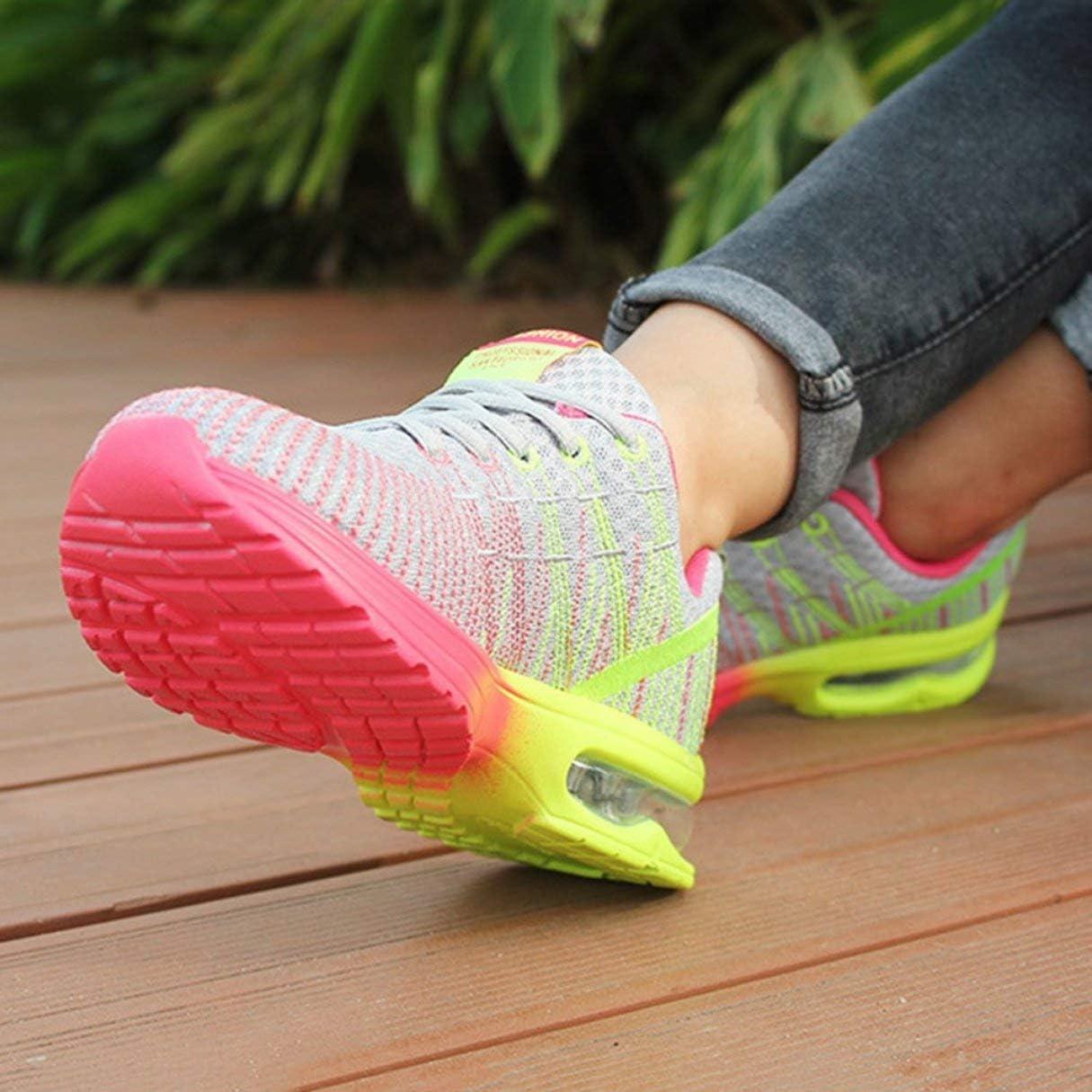 Celerhuak Ultra léger Respirant athlétique Course à Pied Marche Chaussures de Sport Femme en Plein air Jogging Marche athlétique à Lacets Chaussures de Course Gris