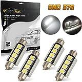 Partsam 4x Xenon White 42MM 4SMD Error Free festoon LED Bulbs Car Interior Lights 4-5050-SMD 12V