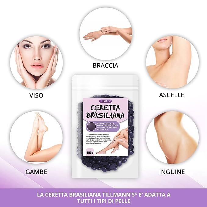 Cera Brasil - Cera depilatoria, Brasil indolora - utilizza direttamente Le manos sin necesidad de rayas Extras - 100 g: Amazon.es: Salud y cuidado personal