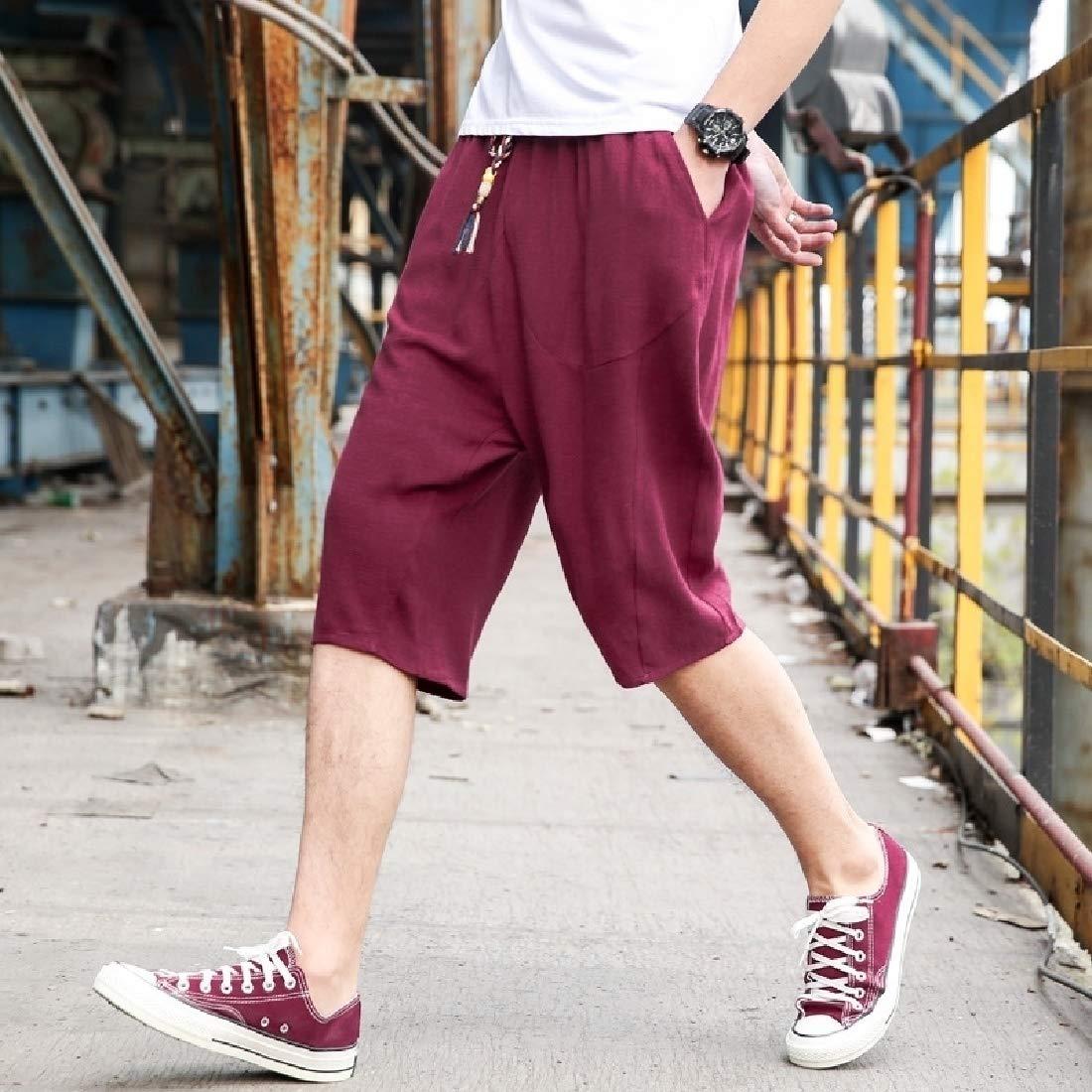 GAGA Mens Summer Beach Solid Linen Casual Classic Fit Short Shorts