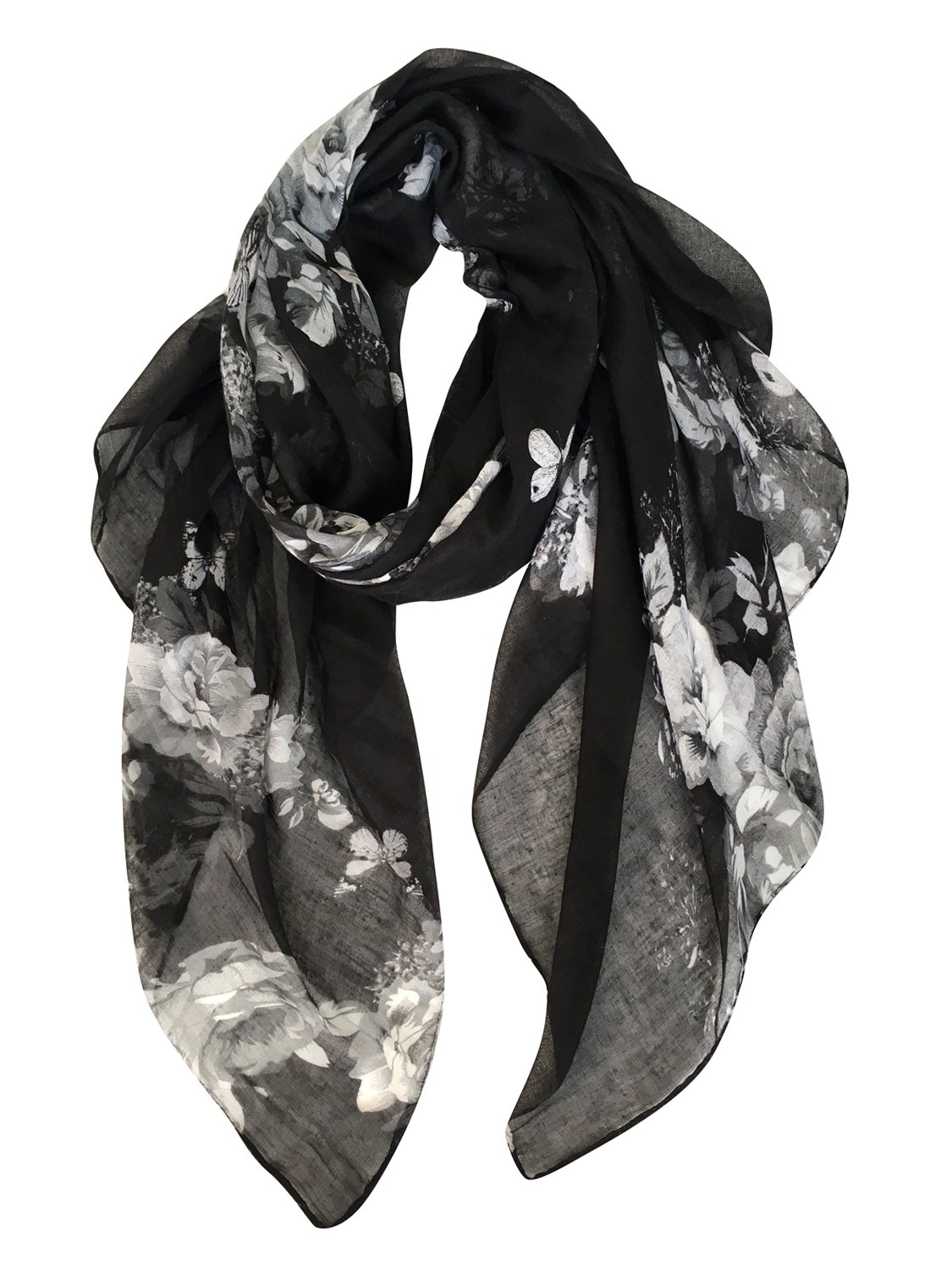 GERINLY Lightweight Shawl Scarf: Peony Print Beach Wrap For Hawaiian Vacation (Black)