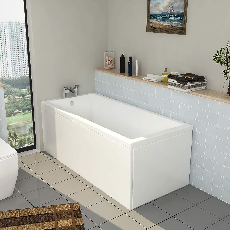 No Panel 1800 x 800mm Cesar 1800 x 800mm Designer Single Ended Acrylic Bath Straight Bathroom Bathtub