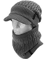 (シッギ)Siggi ミックスウール 帽子 メンズ ニットキャスケット ネックウォーマー 秋冬 フリーサイズ スキー 防寒 自転車 55-59cm