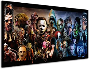 RINWUNS Canvas Wall Art Classic Horror Movies Poster Character Collection Painting Prints on Canvas Picture Gift for Horror Fans No Frame Home Decor for Living Room Bedroom-12x18inch(Only Canvas)