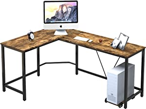 45MinST Gaming Desk,66 inch Wood and Steel L-Shaped Computer Desk with CPU Stand, Writing Study Table, Workstation for Home Office, Large Space Corner Desk, Easy to Assemble, Rustic Brown