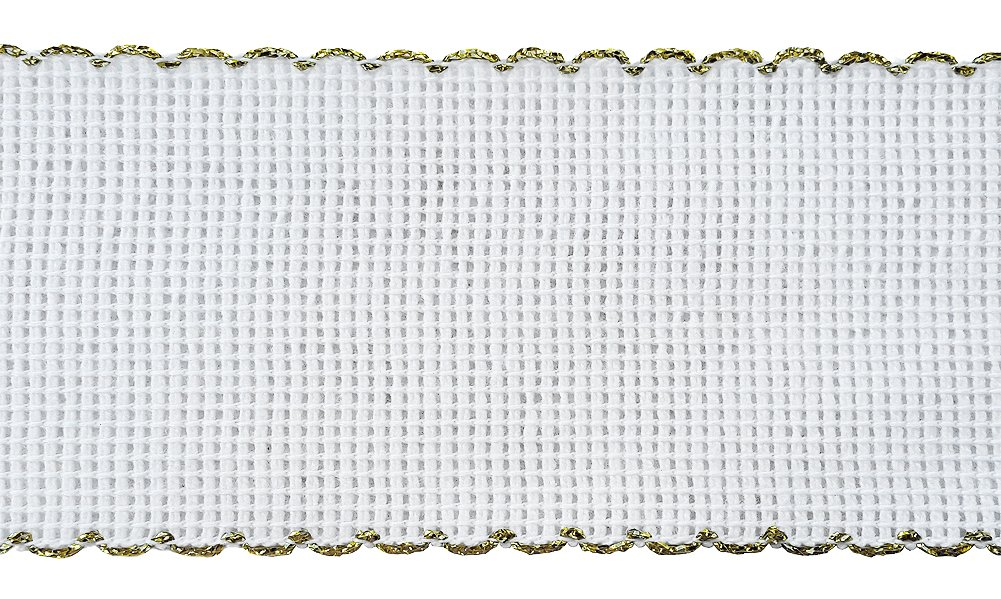 Rollo de tela cinta cenefa para bordado a mano de punto cruz. 15 Counts. Bordes de color Oro: Amazon.es: Hogar