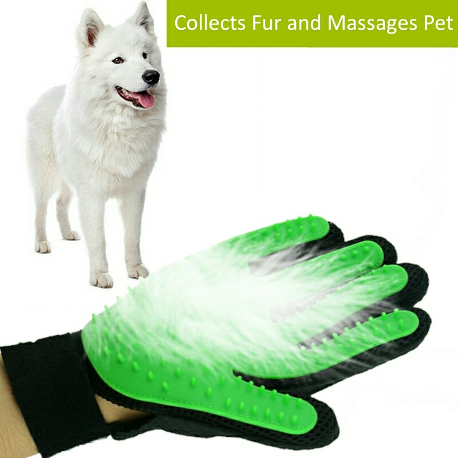 Petbob Pet Grooming Glove,Pet Deshedding Glove,Soft Gentle Pet Bath Massage Mitt,Silicone Pet Dematting Hair Removal Brush Glove Comb, For Long and Short Haired Dogs Cats Bunnies (green) by petbob (Image #5)