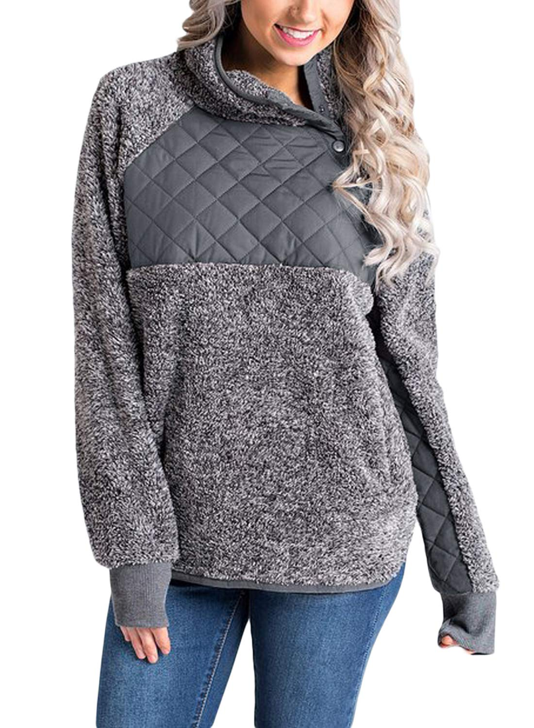 Sidefeel Women Button Neck Fleece Pullover Coat Asymmetrical Sweatshirts Outwear X-Large Grey
