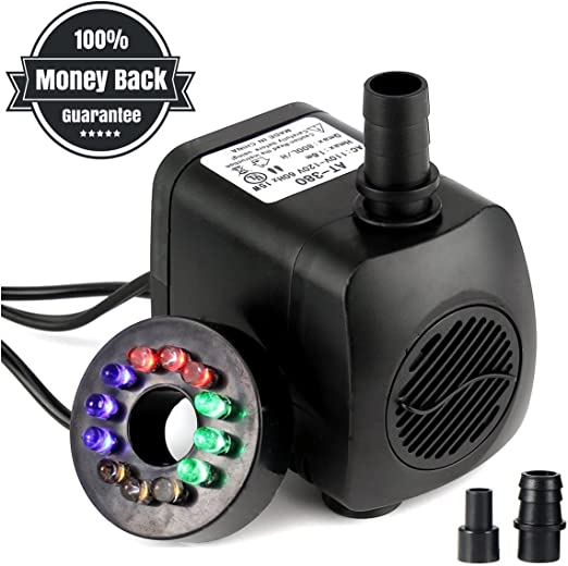 OUNONA Submersible water pump noiseless with power cord for fountains ponds aquarium