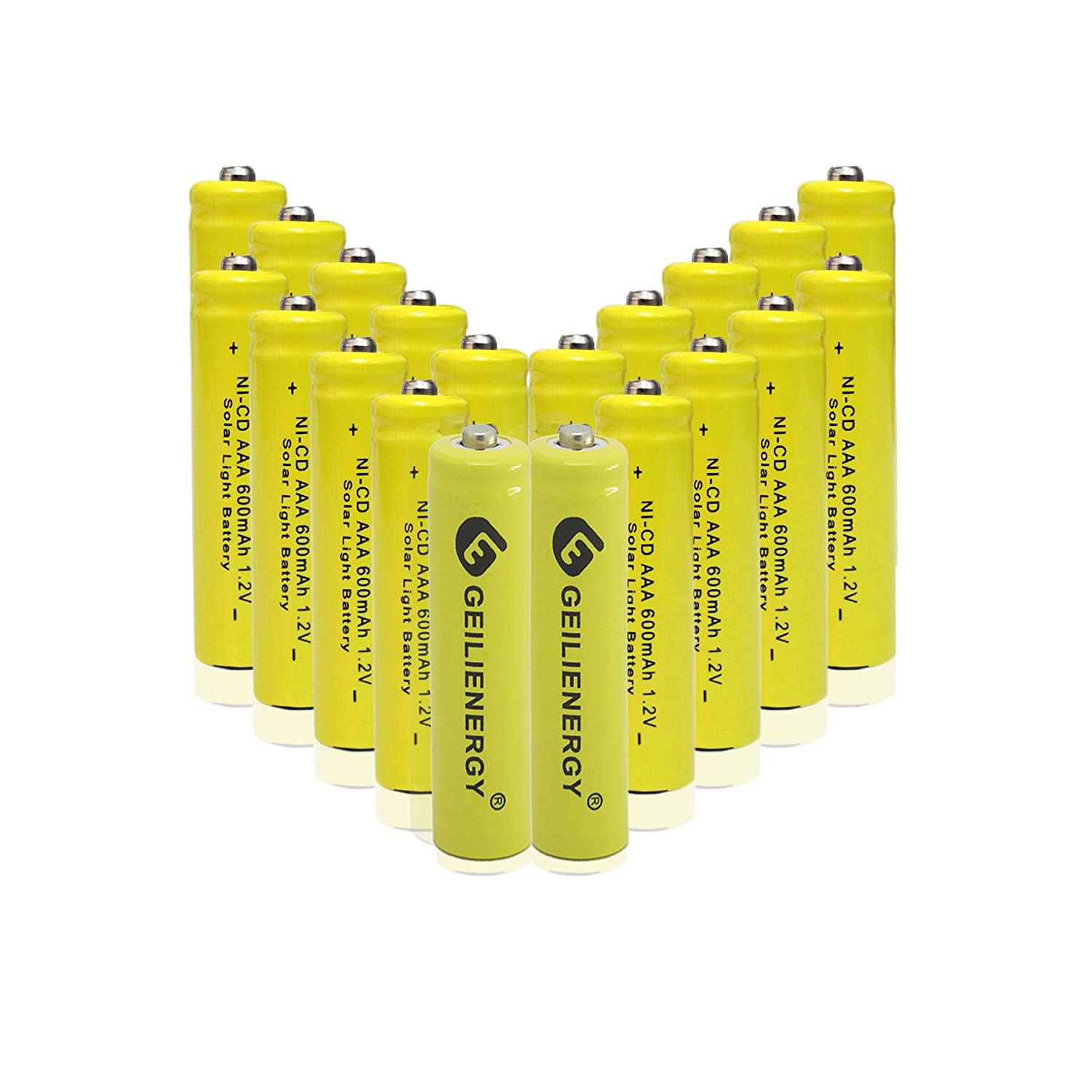 Amazon.com: GEILIENERGY NiCd AAA 1.2V 600mAh Triple A Rechargeable Batteries  for Solar light Lamp Yellow Color (Pack of 20): Home Audio & Theater