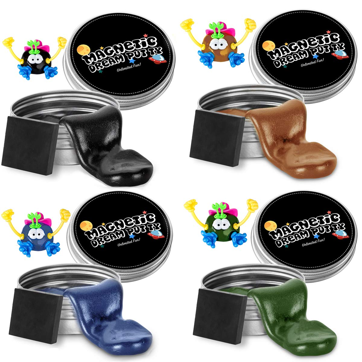 ILC Magnetic Putty Playdough Creative Magnet Toy Slime Stress Reliever for Kids and Adults for Fun (4 Pack) by ILC