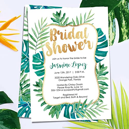 Amazon bridal shower invitations tropical shower invitations bridal shower invitations tropical shower invitations tropical leaves luau palm summer bridal shower filmwisefo