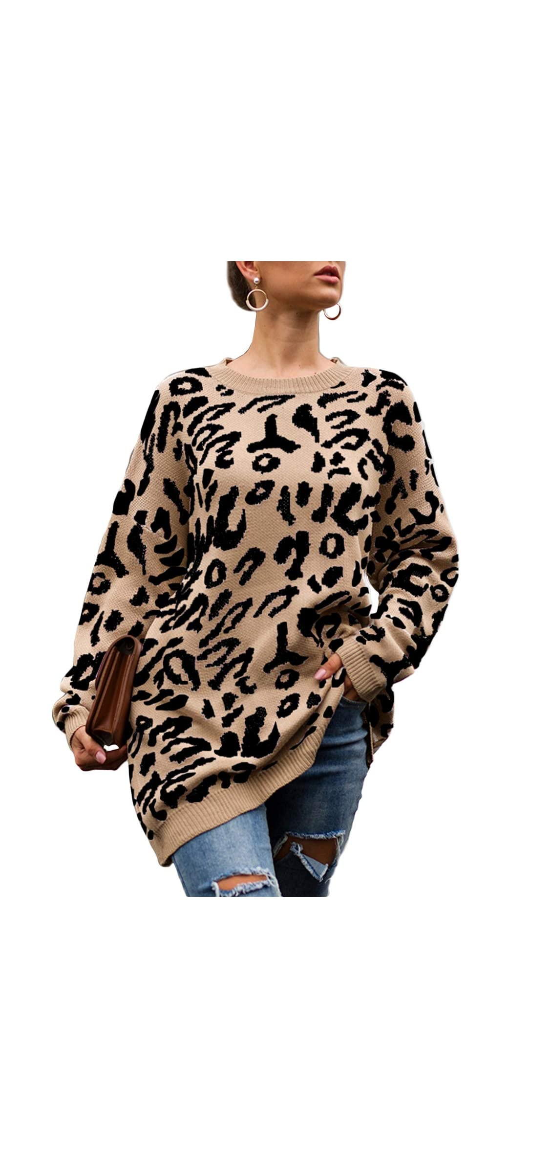 Women's Casual Leopard Print Pullover Sweater Long Tunic
