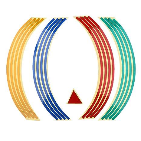 Sharplace Pegatinas Set Bandas Llantas Reflectantes para Vehículos - Multicolor
