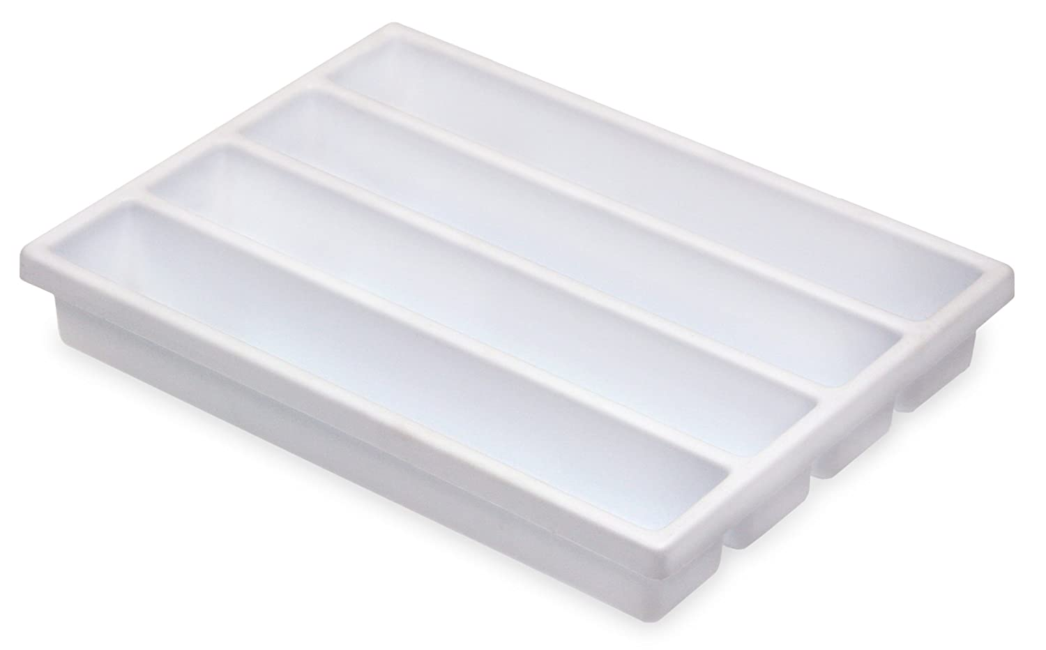 "TrippNT 50975 High Impact Styrene 4 Long CompartmentDrawer Organizer, 11-5/8"" Width x 2-3/8"" Height x 15-5/8"" Depth"