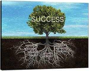 "Yatsen Bridge Successful Motivational Tree Canvas Wall Art Print Office Decor Inspiring Framed Prints Inspirational Entrepreneurship Modern Success Quotes for Living Room Stretched Giclee (18""Hx24""W)"
