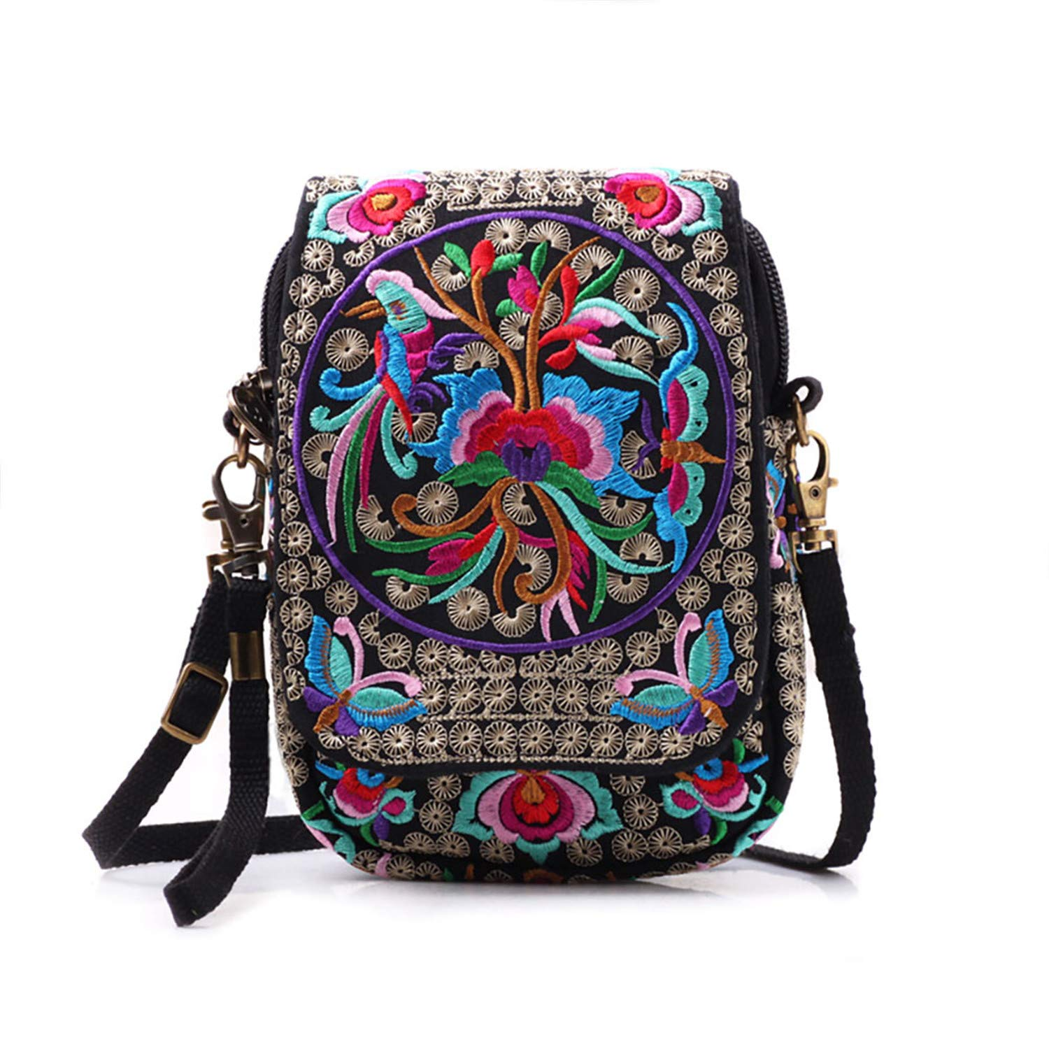 seeknfind 2 PACK Embroidery Mini Crossbody Bag Cellphone Pouch Cell Phone Purse Wallet for Women Girls