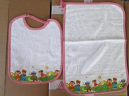 Juego de 2 piezas de guardería con babero y toalla con nombre bordado del niño