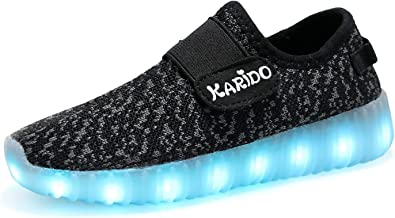 KALEIDO Kids 7 Colors LED Light up Shoes Sneakers for Boys Girls