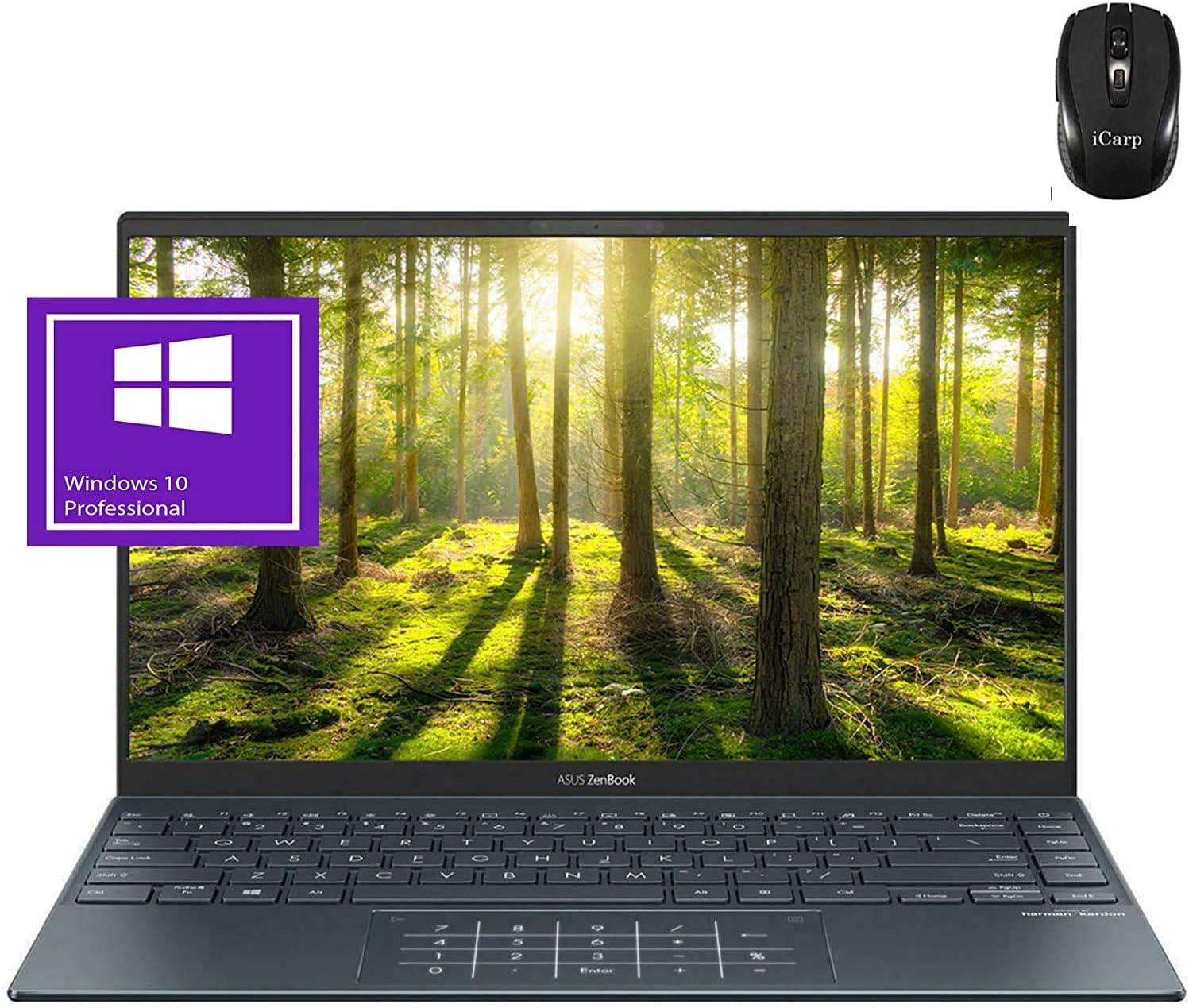 "2020 Flagship Asus Zenbook 14 Laptop 14"" FHD IPS Anti-Glare 100% sRGB AMD Octa-Core Ryzen 7 4700U (Beats i7-10710U) 16GB RAM 1TB PCIe SSD Backlit HDMI USB-C Wifi6 Win10 Pro + iCarp Wireless Mouse"