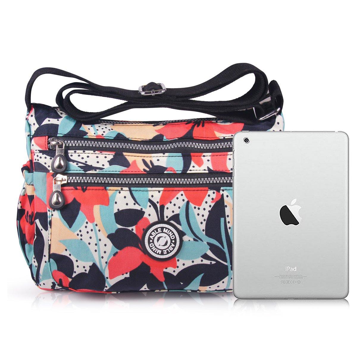 ABLE Mujer Bolsos de Moda Impermeable Mochilas Bolsas de Viaje Bolso Bandolera Sport Messenger Bag Bolsos Mano para Tablet Escolares Nylon 0-Calla Flores