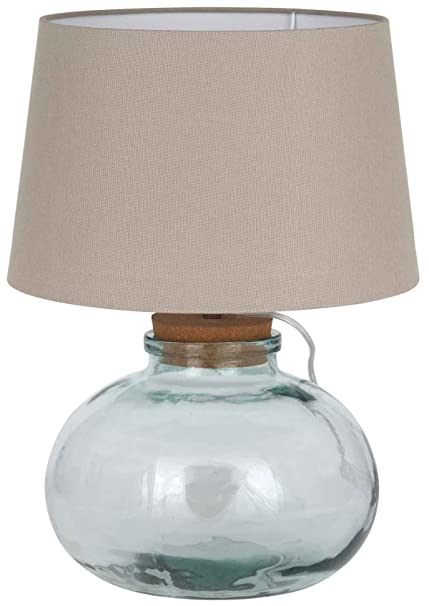 Clear recycled glass table lamp amazon kitchen home clear recycled glass table lamp aloadofball Choice Image