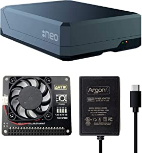 Argon NEO Raspberry Pi 4 Model B Heatsink Case with Fan HAT and Power Supply (Type-C)   Supports Cooling Fan, Camera, and LCD Display   GPIO and PoE Pins are Accessible