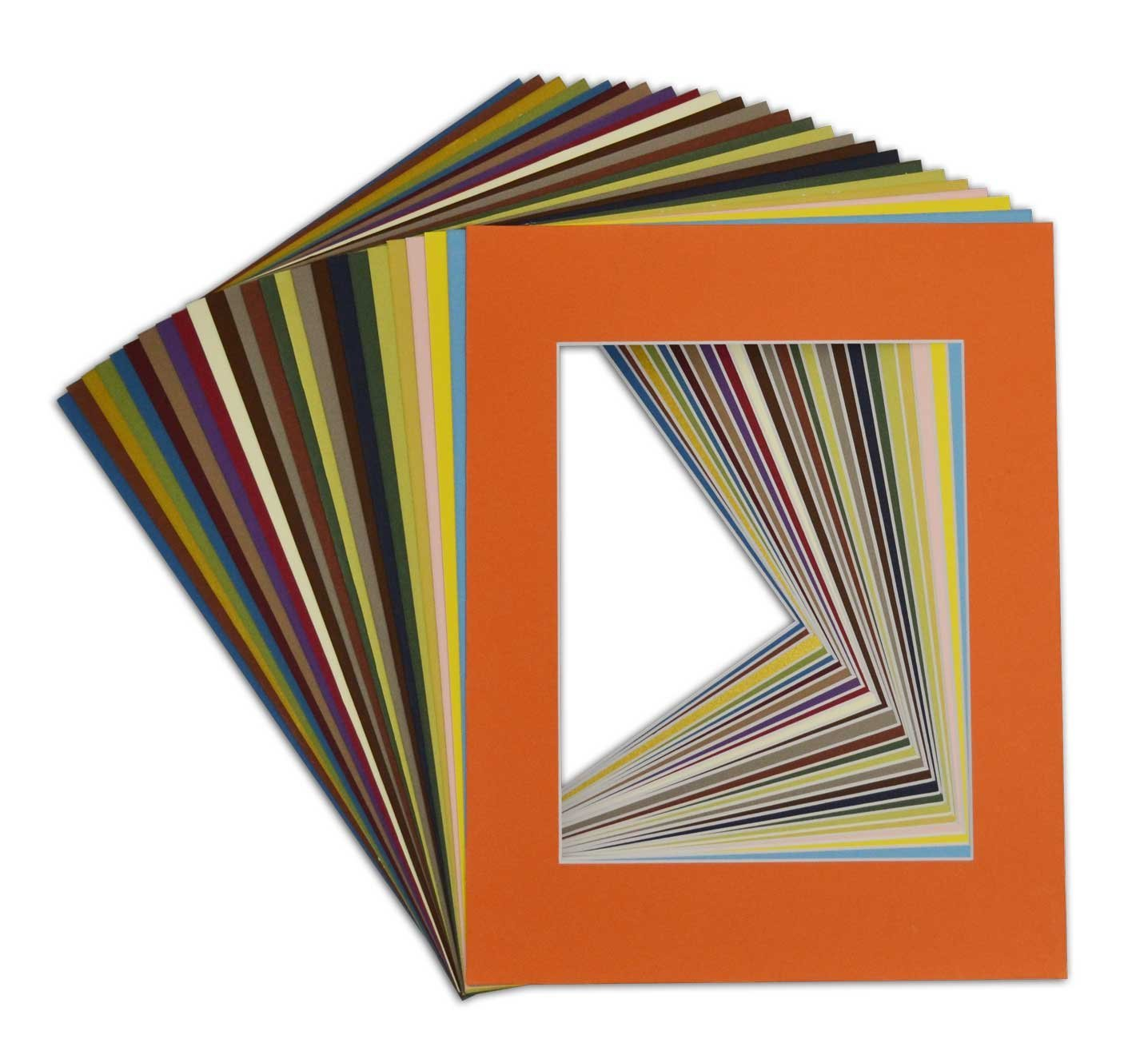 Golden State Art, Pack of 25, Acid-Free Mixed Colors Pre-Cut 11x14 Picture Mat for 8x10 Photo with White Core Bevel Cut Frame Mattes