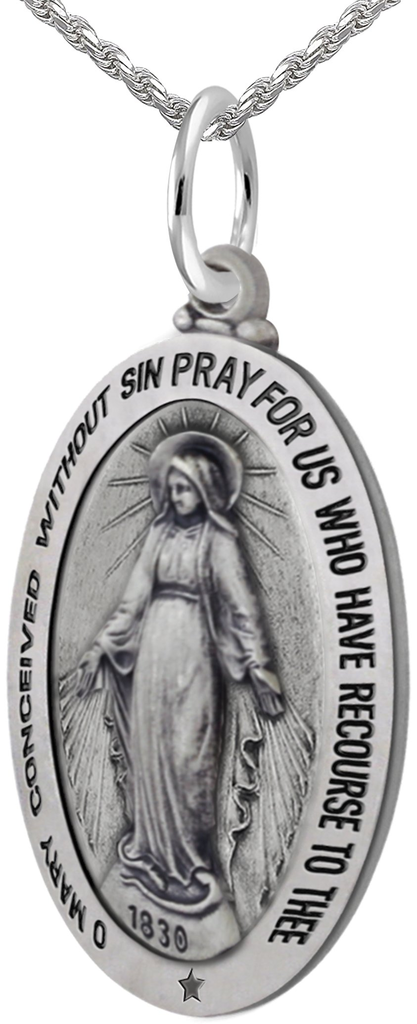 New 0.925 Sterling Silver 1.375'' Oval Miraculous Virgin Mary Antique Finish Pendant 3.3mm Rope Necklace, 20''