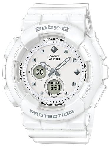 Amazon.com  Casio Women s Baby-G BA125-7A White Rubber Quartz Sport ... 5468492a3d