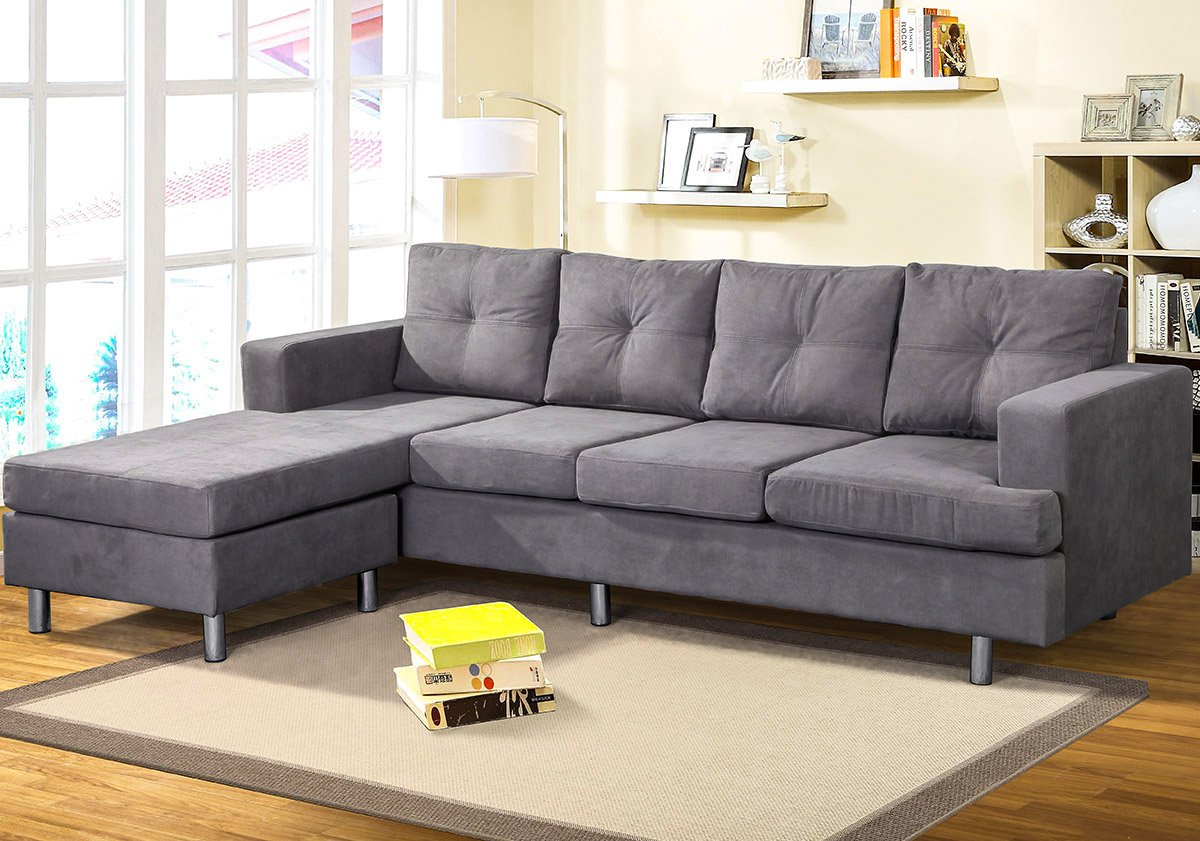 Harper & Bright Designs Modern Style Living Room L Shape Sectional Sofa with Reversible Chaise Lounge (Grey) JC