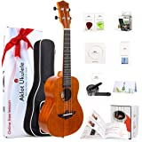 Solid Mahogany Ukulele Uke Ukelele For Beginners With Free Online Lessons 8 Packs Starter Kit (Gig Bag Picks Tuner Strap String Cleaning Cloth Instruction Book Gift Box) From AKLOT (Concert)
