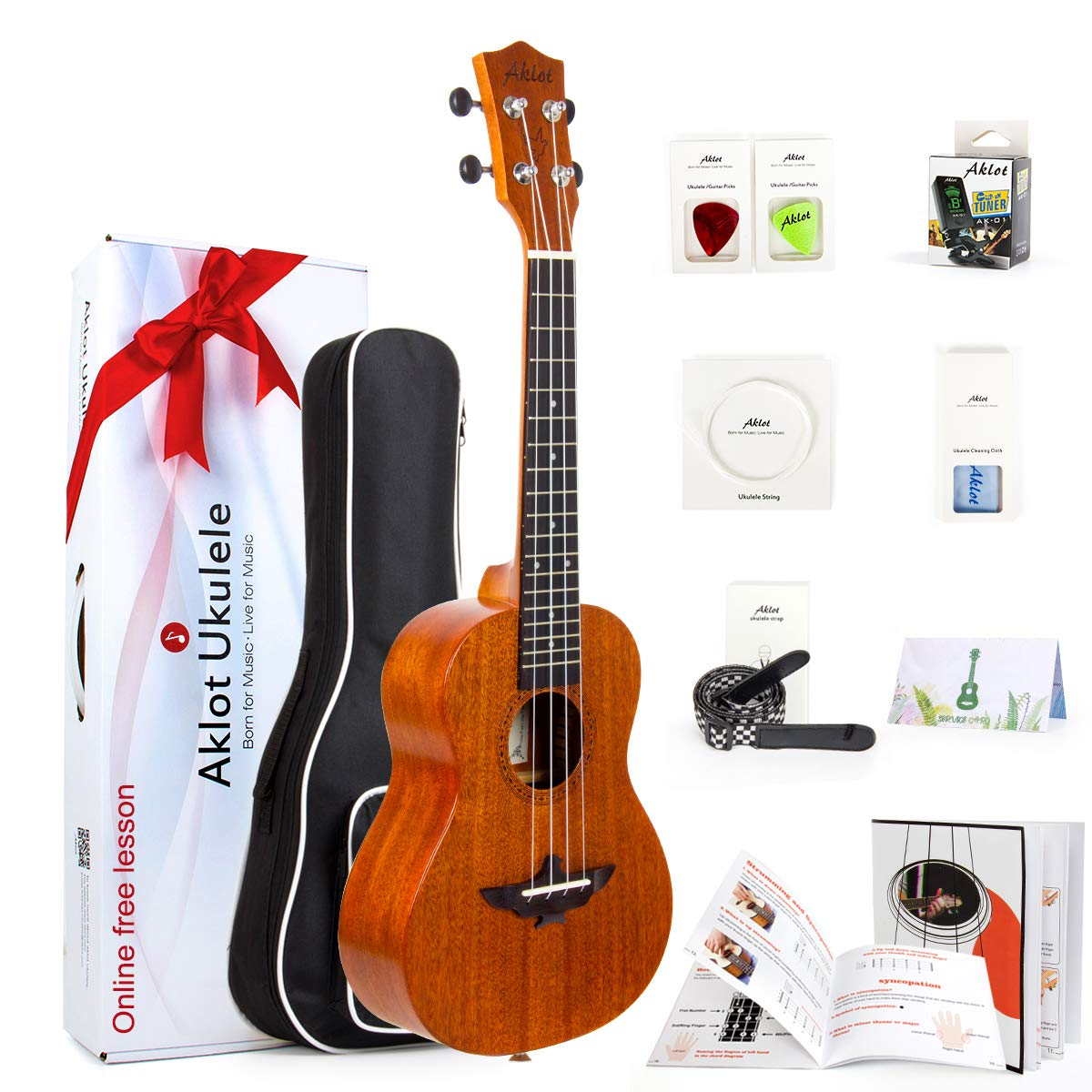Ukulele Solid Mahogany 23 Inch Concert Uke With Free Online Course 8 Packs Beginner Starter Kit ( Gig Bag Picks Tuner Strap String Cleaning Cloth Instruction Book Gift Box ) From AKLOT by AKLOT