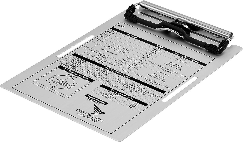 Comfortable Elastic Strap Destination Departure Pilot Kneeboard 5.5 x 8 Inch Knee Board Clipboard Metal Clip and Practical Pen Holder Aluminum Pilot Writing Board