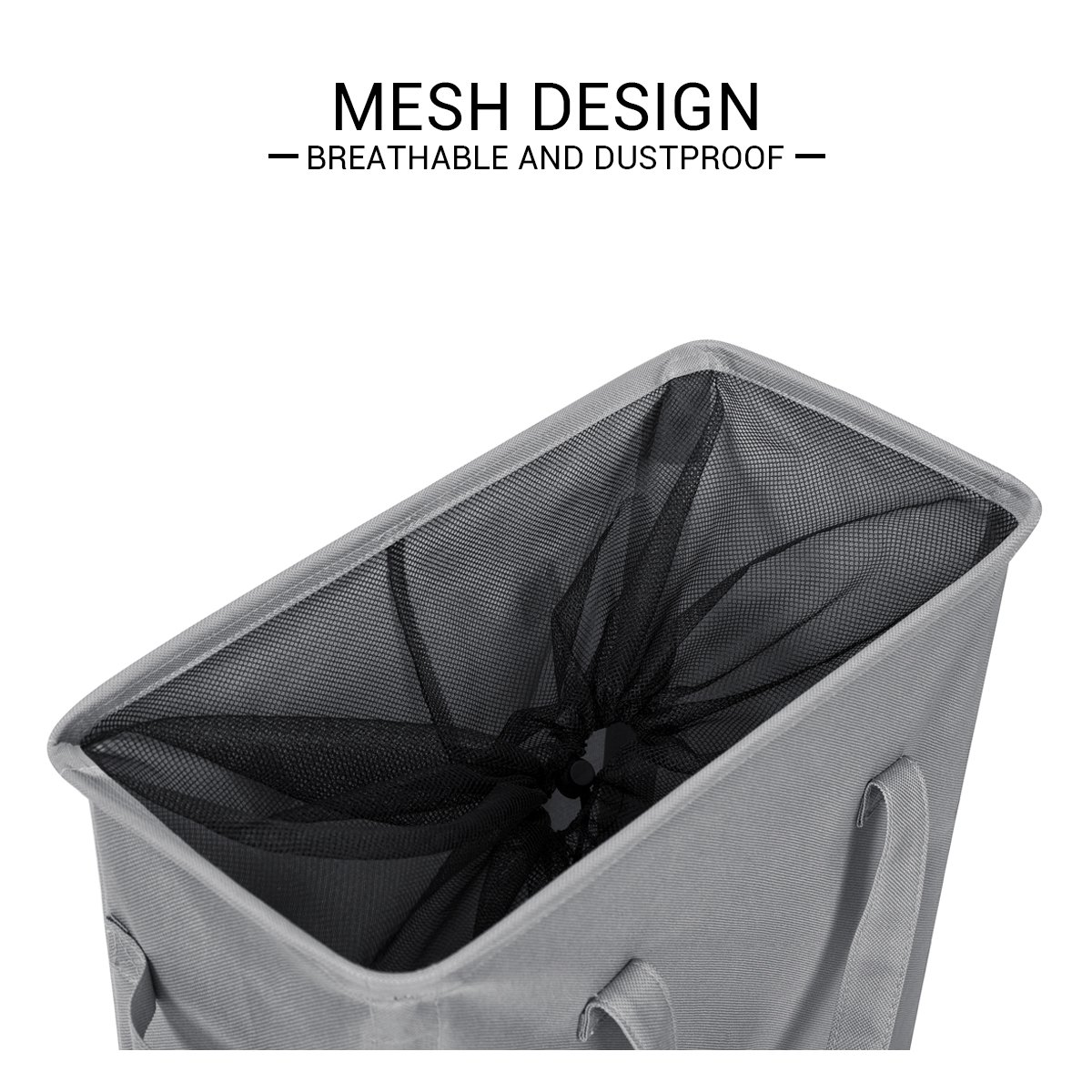 Chrislley slim laundry basket hamper handy foldable bag handle collapsible oxford cloth basket bin organizer 44 5l(grey) amazon co uk kitchen home