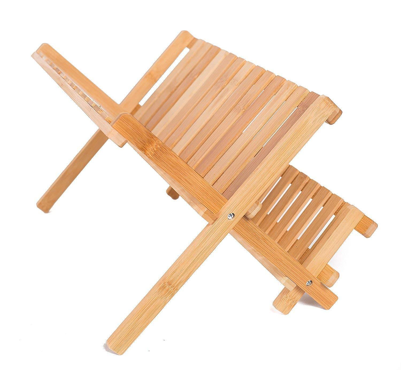 SunbuyHouse - Escurreplatos plegable de bambú con escurridor de platos con  2 estantes para secar platos edb57cedd289