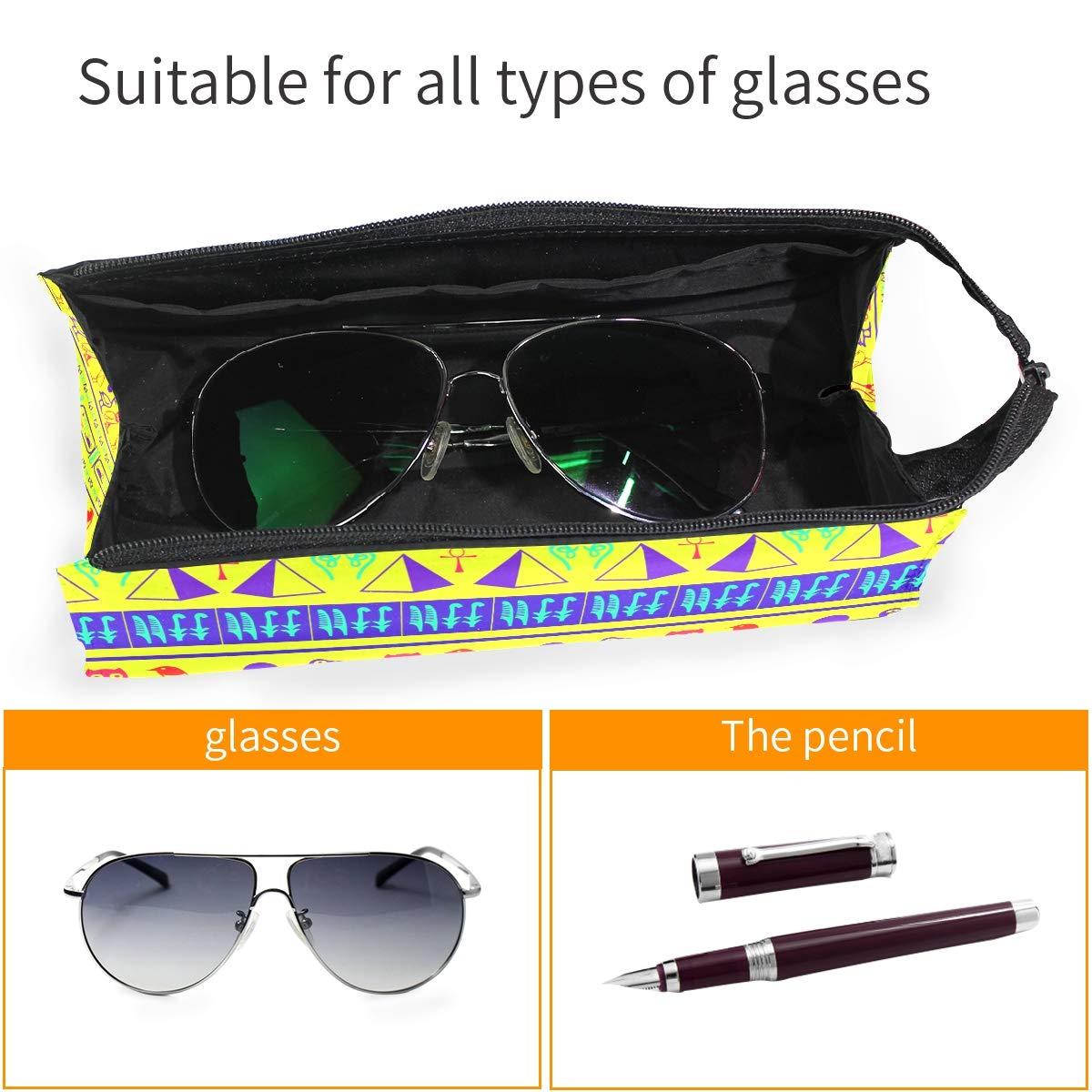 My Little Nest Eyeglass Sunglasses Holder Pouch Bag Egyptian Ethnic Symbols Multi Function Zipper Pen Case Pencil Bag Organizer