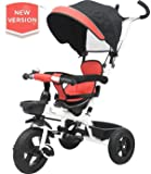 R for Rabbit Tiny Toes Striker - The Plug and Play Tricycle for Baby/ Kids with Striking Looks and Reversible Seat & Rubber Wheels (Red Black)