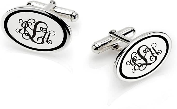 Grey Personalized  Monogram Cuff Links 20mmPersonalized Silver Cufflinks for HimMen Gift