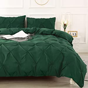 Litanika Dark Green Pinch Pleat Duvet Cover Queen(90x90Inch), 3 Pieces(1 Duvet Cover, 2 Pillowcases) Luxurious Pintuck Bedding Set, Soft Microfiber Duvet Cover with Zipper Closure & Corner Ties