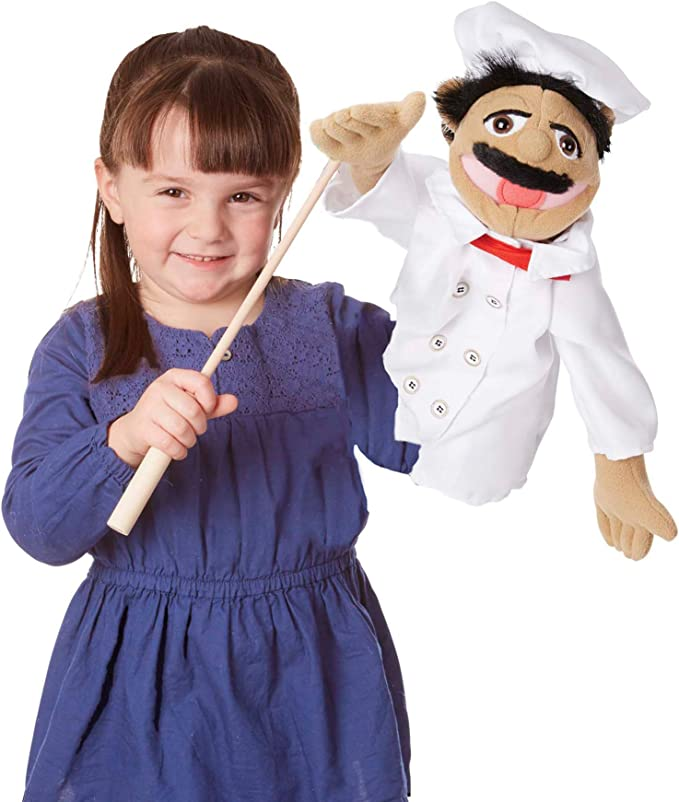 Melissa Doug Chef Puppet With Detachable Wooden Rod Puppets Puppet Theaters Animated Gestures Inspires Creativity Great Gift For Girls And