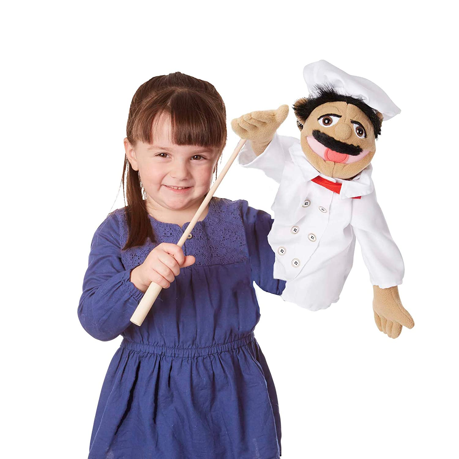 B00272N8NA Melissa & Doug Chef Puppet with Detachable Wooden Rod (Puppets & Puppet Theaters, Animated Gestures, Inspires Creativity, Great Gift for Girls and Boys - Best for 3, 4, 5 Year Olds and Up) 71pvlWChQ-L