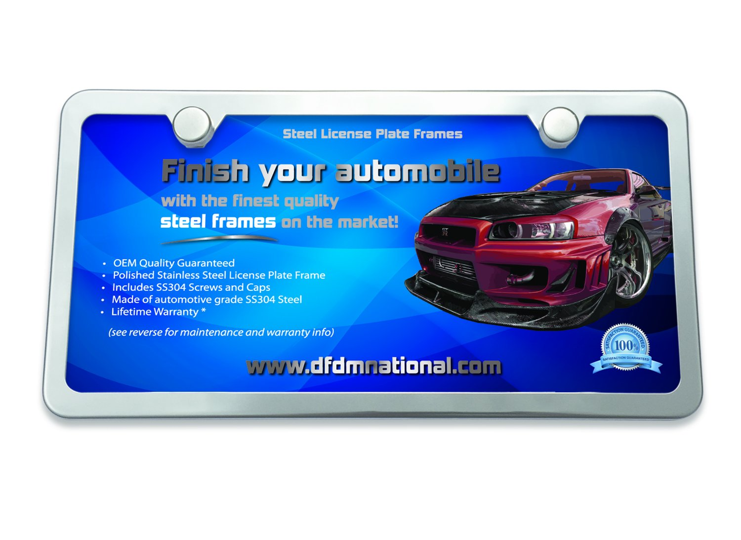 Amazon.com: DFDM National License Plate Frame Polished Stainless ...