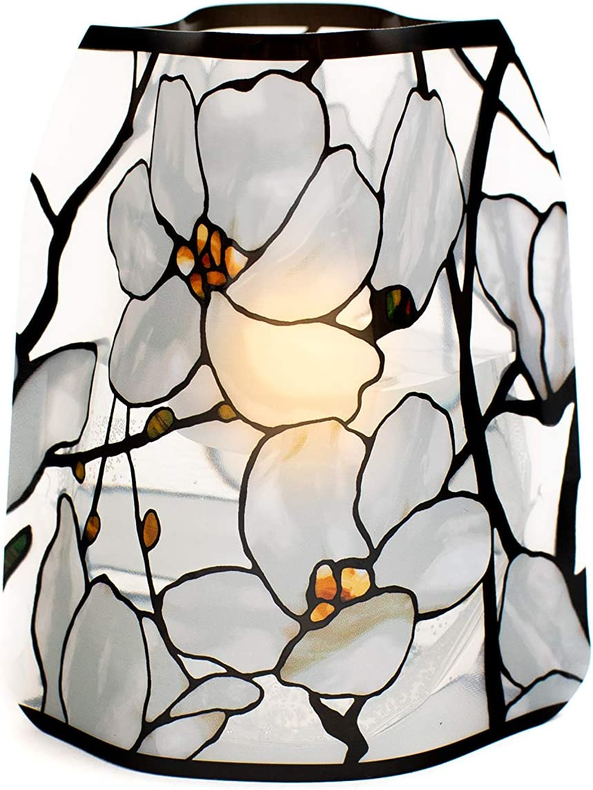 MODGY Luminary Lanterns 4-Pack - Floating LED Candles with Batteries Included - Luminaries are Great for Weddings, Parties, Patios & Celebrations of All Kinds (Louis C. Tiffany Magnolia Window)