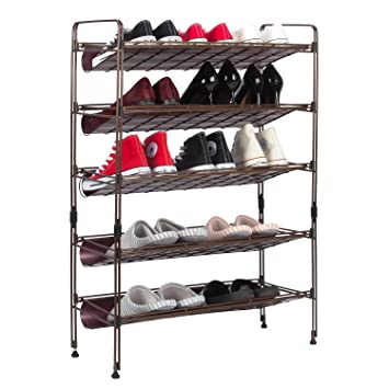 Schuhregal, Kealive Schuhregal Metall Schuhregal Mit 5 Ablagen Für Ca. 20  Paar Schuhe 61